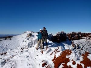 Two Toned Travelers at Top of Mount Ngauruhoe